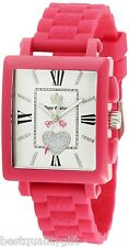NEW-JUICY COUTURE PINK SILICON BAND+ROMAN NUMERALS+CRYSTAL DIAL WATCH #1900651
