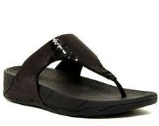 NEW FitFlop Electra Classic Womens SZ 7  Black Sequin Comfort Sandals Thong $130