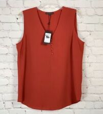 ADRIANNA PAPELL - SLEEVELESS BURNT ORANGE SIENNA BLOUSE TOP WOMENS TOP - XL NEW
