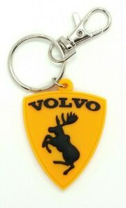 VOLVO moose keychain key ring fob - rubber emblem BLACK 2-sided avaimenperä