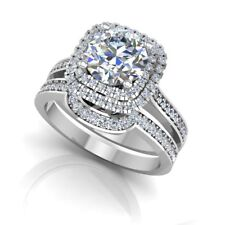 1.42 Ct Round Diamond Engagement Ring 14K White Gold Wedding Band Sets Size 6 7