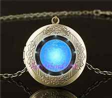Vintage Atlantis Stargate Photo Cabochon Glass Brass Locket Pendant Necklace