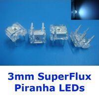 S576 - 20 Stück LEDs 3mm weiß SuperFlux Piranha 80° white