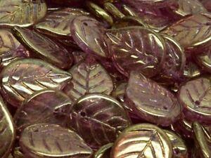 CHOOSE COLOR! 15 pcs Apple Leaf Beads 18x13 mm, Czech Pressed Glass