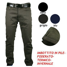 Pantalone Uomo Felpato Imbottito Pile Termico Inverno Elastico Regular Fit 46-64