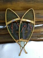 Vintage snowshoes made in Nova Scotia rare deep sea fishing line webbing by Char