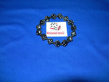 NEW HAND MADE STRETCHY BLACK DICE BRACELET WITH WHITE PIPS FREE SHIPPING