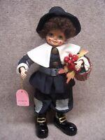 "BRINNS 1986 14"" CALENDAR CLOWN Porcelain Doll PILGRIM Thanksgiving decor Nov."