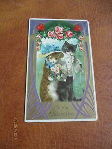 Vintage Embossed Cats postcard, To my Valentine