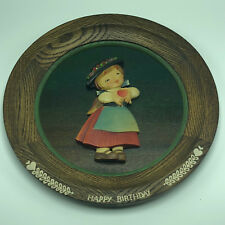 1975 Anri Wooden Collectors Plate birthday juan ferrandiz miss holds heart Italy