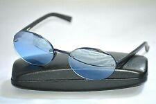 DKNY 7221S 424 Blue Black Plastic Oval Rimless Sunglasses