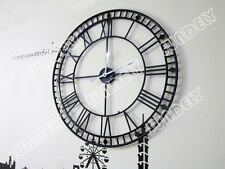 NEW Black Stunning Extra Large 80cm Black Metal Wall Clock Skeleton Wall Clock