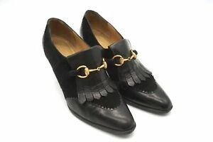GUCCI 5B Horsebit Fringe Loafers Pumps Shoes Pointed Suede Leather Black 5908i