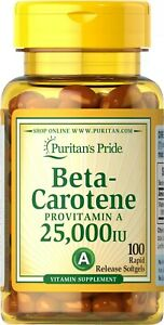 Puritan's Pride Beta-Carotene (Provitamin A) 25000 IU 100 Rapid Release Softgels