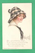 1913 ALICE LUELLA FIDLER  ART POSTCARD BEAUTIFUL LADY FEATHER CHECKED HAT