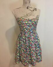 Super Cute MINK PINK Floral Strapless Dress - Size 8 - Fitted Bust Pleated Skirt