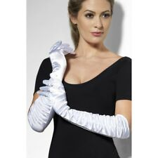TEMPTRESS GLOVES LADIES WHITE SILK FANCY DRESS ELBOW LENGTH GLOVES