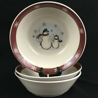 Set of 3 VTG Cereal Bowls by Royal Seasons RN1 Stoneware Snowmen Christmas