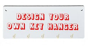 Custom Personalised MDF Key Hanger Key Holder Storage Hooks Wall Mounted Wooden
