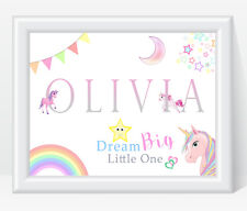 Personalised Girls Name PINK UNICORN Print Nursery Bedroom  Dream Big Little One