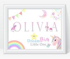 Personalised Girls Name PINK UNICORN Print Nursery Bedroom  Dream Big Little One