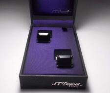 S.T DUPONT PALLADIUM FINISHED & BLACK CRYSTAL CUFF LINKS. RARE.