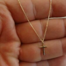 14K Yellow Gold Over 925 Sterling Silver Cross Necklace Pendant / 18' Chain