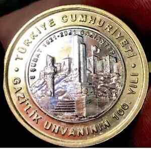 2021 TURKEY ( GAZIANTEP 100. Anniversary ) Commemorative 1 Lira ** UNC **