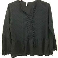 XHILARATION Plus Size 2XL Black Rayon Blouse Shirt Bell Sleeve Pom Pom Tie Lace