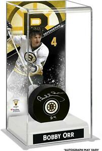 Bobby Orr Boston Bruins Autographed Puck w/ Deluxe Tall Case - Fanatics