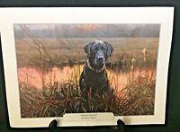 """""""SUNRISE SENTINEL"""" Bruce Miller Color Print Black Labrador Wildlife"""