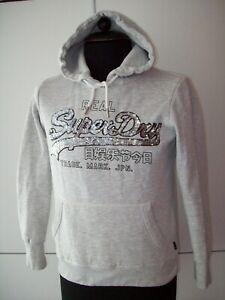 SUPERDRY super klasse Hoodie/Sweatshirt m. Kapuze Gr. 38 hellgrau PAILLETTEN TOP
