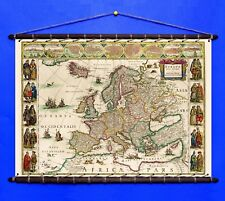 Antique Old Rare Map of Europe 1635, Cotton Canvas with Vintage Wooden Hangers