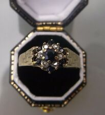 Women's 9ct Gold Vintage Diamond & Sapphire Cluster Ring Size T Weight 2.4g