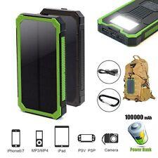 100000mAh Powerbank Externer Batterie Solar Charger 2USB Tragbare Ladegrät 6LED