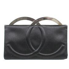 Chanel - Rare Collectors CC Clutch Frame Bag Black Satin Evening Vintage Silver
