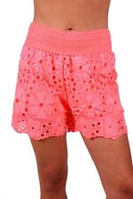 Junior Popular Style Embroidered Cut Work High-Waisted Shorts