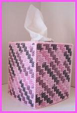 PINK ROSE NURSERY HANDMADE PLASTIC CANVAS TISSUE BOX COVER TOPPER