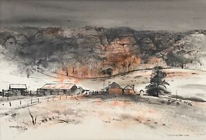 """Original Watercolour And Ink Painting By Kenneth Jack """"Wallerawang Farm"""""""