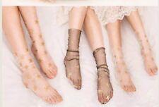 2 Pair Women's Glitter Gold Star Soft Sheer Mesh Socks Transparent Fishnet socks