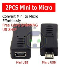 2x Mini USB Female to Micro USB Male Adapter Charger Converter Adaptor US SHIP
