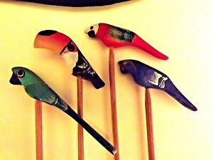 COCKTAIL PADDLES, 4 TROPICAL BIRDS. WOODEN.