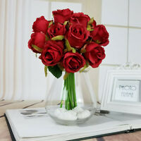 12 Head Artificial Silk Fake Rose Flowers Floral Wedding Bouquet Party Decor