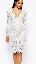LOVE TRIANGLE ASOS DRESS - White - Sz 10 - Jersey Crochet Lace -  Midi  Plunge