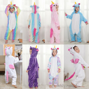 Kids Rainbow Unicorn Kigurumi Animal Cosplay Costume  Pajamas Sleepwear +