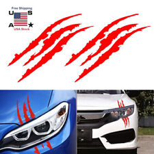 2pcs 15''Red Monster Claw Marks Decal Reflective Sticker For Car Headlight Decor