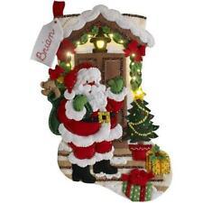 "Bucilla 18"" Felt Christmas Stocking Kit - Santa Is Here with LED Lights"