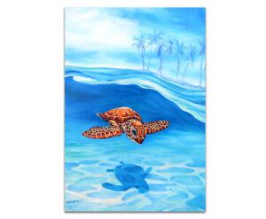 DEBORAH BROUGHTON ART Stretched Canvas Tropical Turtle Print: Choose a size