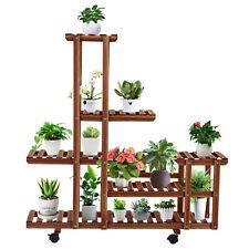 Multi-Tiers Wooden Plant Stand Flower Shelf Display Rack Holder Garden Outdoor