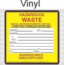Hazardous Waste Vinyl Labels HWL500 VINYL (PACK OF 500)